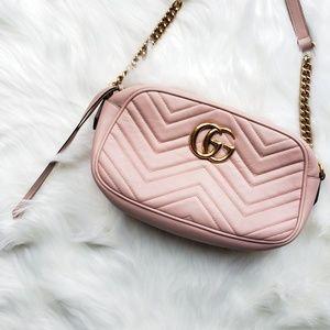 Gucci Marmont Small Pink Blush Crossbody Bag